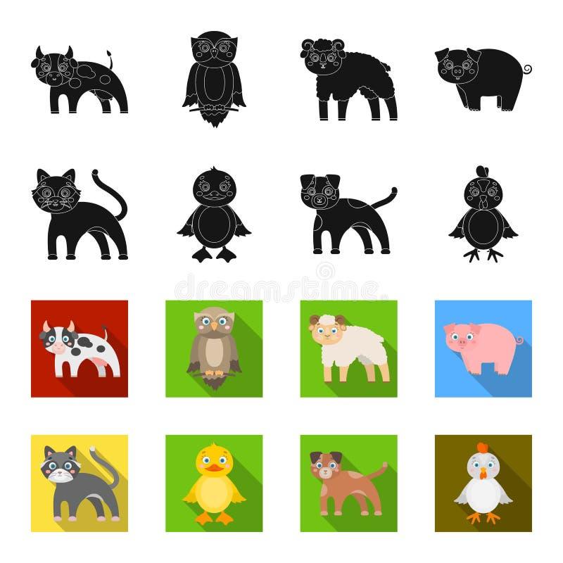 Η ψυχαγωγία, το αγρόκτημα, τα κατοικίδια ζώα και άλλο εικονίδιο Ιστού στο Μαύρο, flet ορίζουν Αυγά, παιχνίδι, εικονίδια αναψυχής  απεικόνιση αποθεμάτων