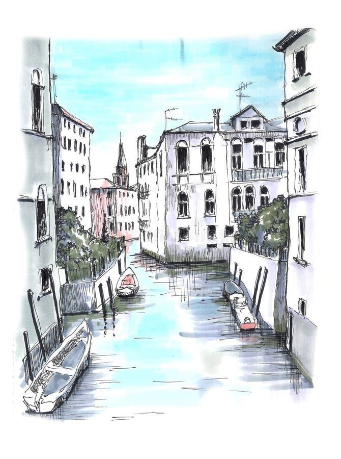 Η όμορφη άποψη σε ένα από τα ενετικά κανάλια ελεύθερη απεικόνιση δικαιώματος