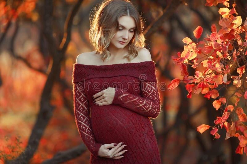 Η όμορφη έγκυος γυναίκα με τα ξανθά μαλλιά στο πολύ κόκκινο φόρεμα και το λαμπρό περιδέραιο στέκεται στο δάσος, χαμογελώντας ήπια στοκ εικόνες