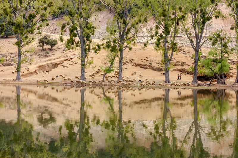 Η όμορφη λίμνη στο Μαρόκο αυτό κάλεσε wiwan στοκ φωτογραφία