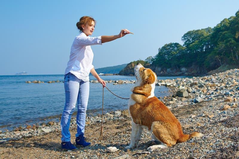 Η όμορφη γυναίκα εκπαιδεύει το σκυλί της κοντά στη θάλασσα στοκ φωτογραφίες