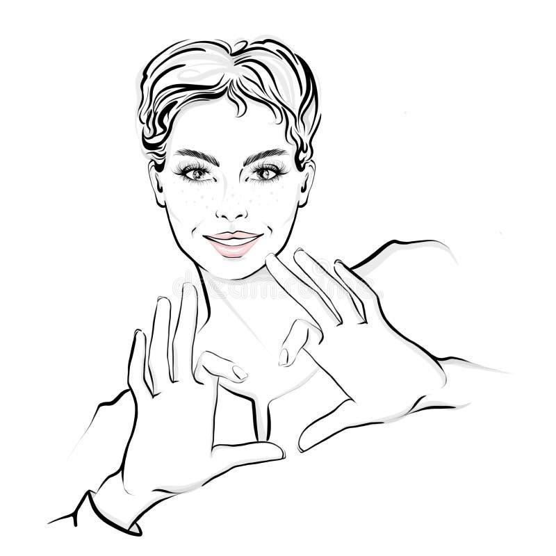 Η όμορφη γυναίκα με την κοντή τρίχα, παρουσίαση παραδίδει τη μορφή καρδιών διανυσματική απεικόνιση