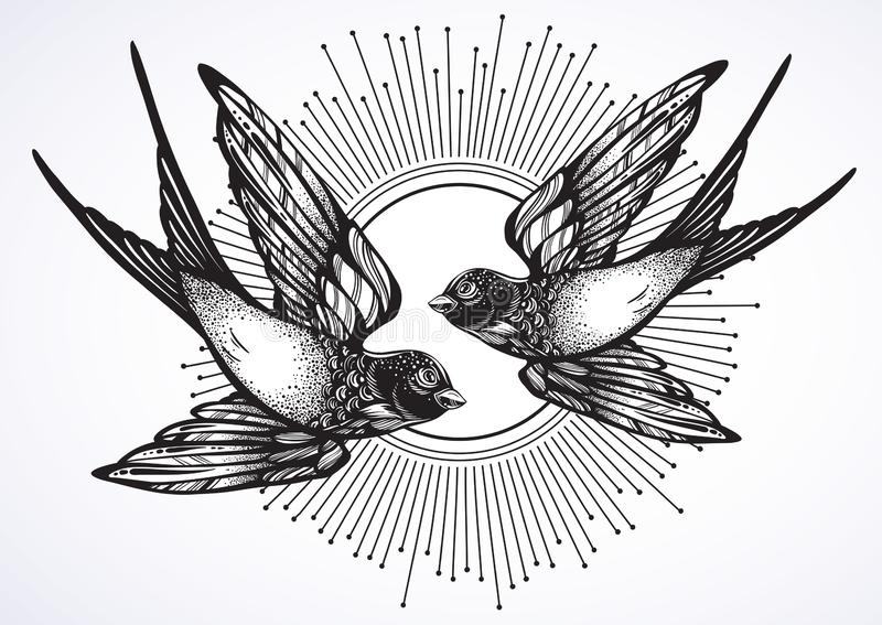 Η όμορφη εκλεκτής ποιότητας αναδρομική απεικόνιση ύφους δύο που πετούν καταπίνει τα πουλιά Συρμένο χέρι έργο τέχνης που απομονώνε διανυσματική απεικόνιση