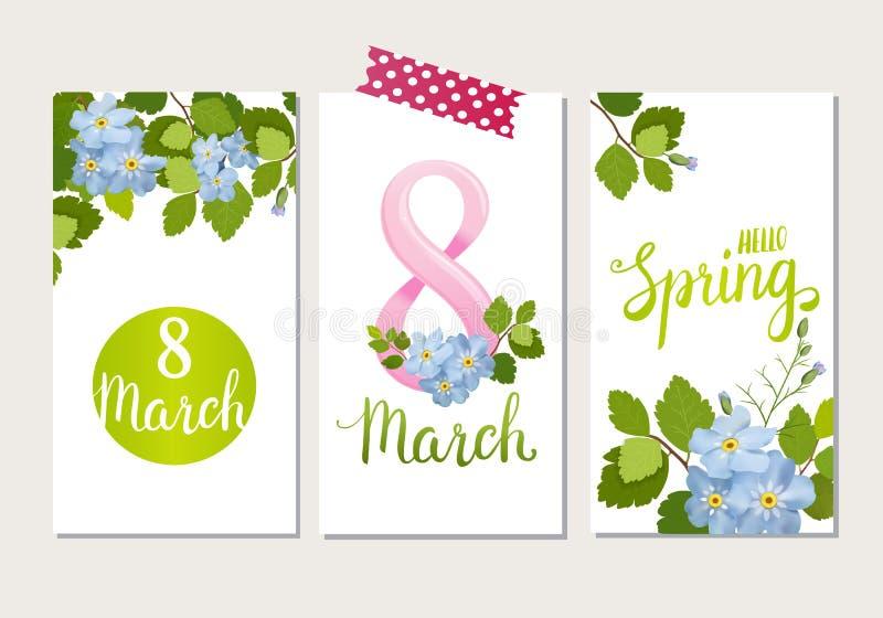 Η όμορφη ευχετήρια κάρτα με τις διακοπές της 8ης Μαρτίου, διεθνής ημέρα γυναικών ` s με την άνοιξη ανθίζει και γράφοντας απεικόνιση αποθεμάτων