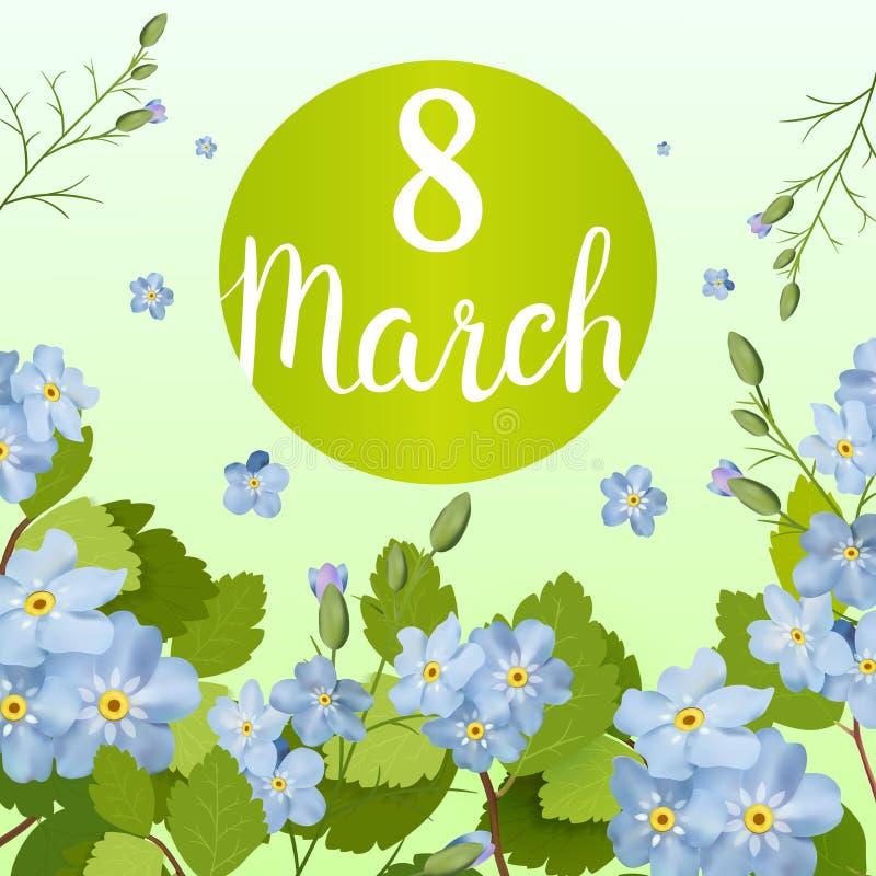 Η όμορφη ευχετήρια κάρτα με τις διακοπές της 8ης Μαρτίου, διεθνής ημέρα γυναικών ` s με την άνοιξη ανθίζει και γράφοντας ελεύθερη απεικόνιση δικαιώματος