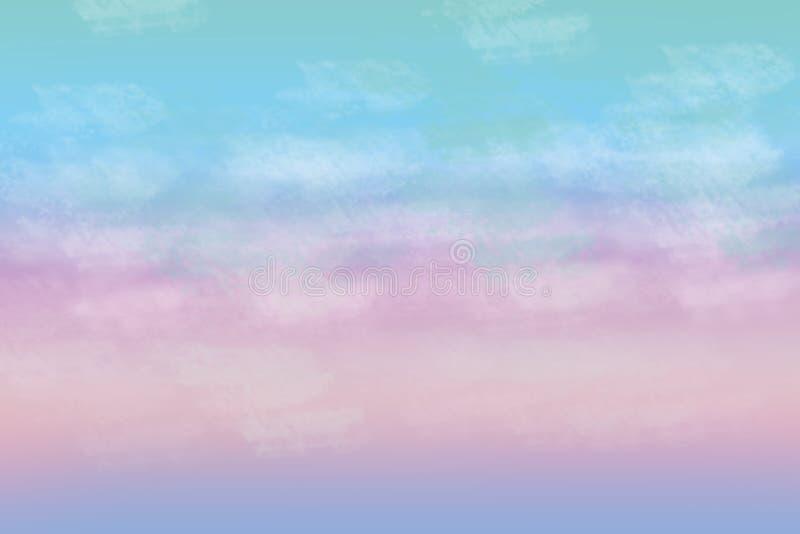 Η όμορφη ζωηρόχρωμη αφηρημένη νεφελώδης κρητιδογραφία χρωμάτισε το μαλακό backgroun διανυσματική απεικόνιση