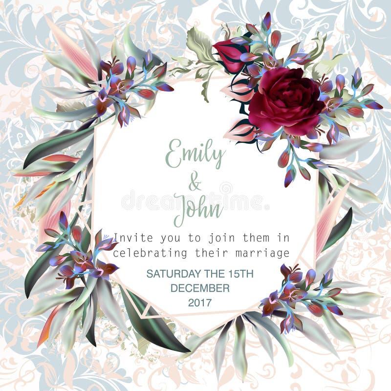 Η όμορφη κάρτα γαμήλιας πρόσκλησης ή σώζει την ημερομηνία με τα τριαντάφυλλα, s ελεύθερη απεικόνιση δικαιώματος