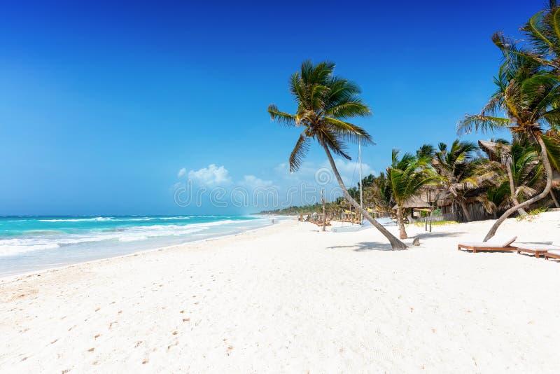 Η όμορφη καραϊβική παραλία Tulum, Quintana Roo, Μεξικό στοκ φωτογραφία με δικαίωμα ελεύθερης χρήσης