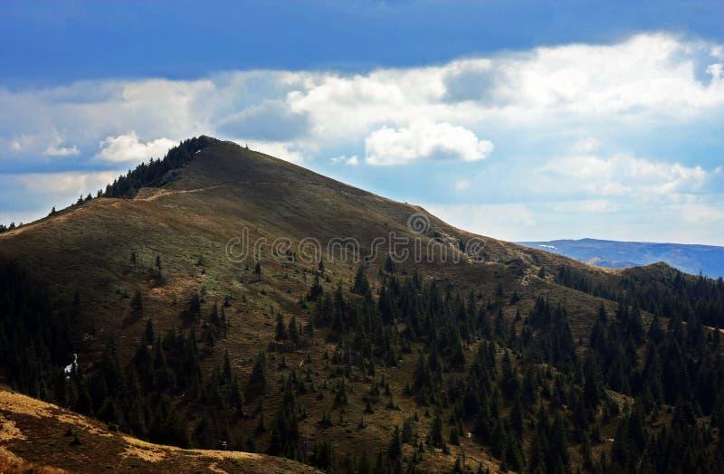 Η όμορφη κορυφογραμμή των βουνών Ciucas στη Ρουμανία στοκ φωτογραφία