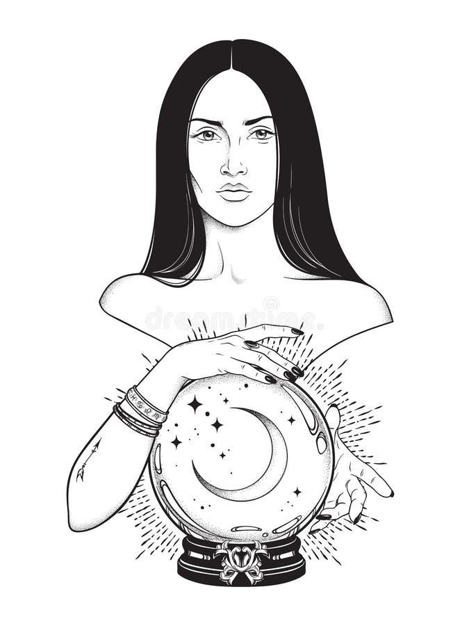 Η όμορφη μάγισσα brunette με τη μαγική σφαίρα κρυστάλλου με το ημισεληνοειδές φεγγάρι στην τέχνη γραμμών χεριών της και το σημείο απεικόνιση αποθεμάτων