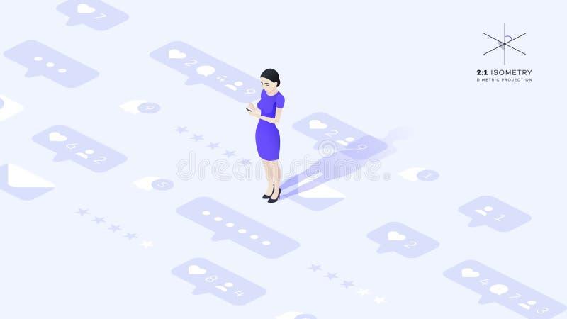 Η όμορφη νέα επιχειρησιακή κυρία επικοινωνεί με το τηλέφωνό σας Έννοια SMM απεικόνιση αποθεμάτων