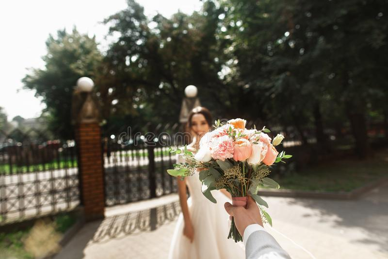Η όμορφη νέα νύφη στο μοντέρνο άσπρο φόρεμα, χαμόγελο συναντά το νεόνυμφό της στο πάρκο στοκ φωτογραφία με δικαίωμα ελεύθερης χρήσης