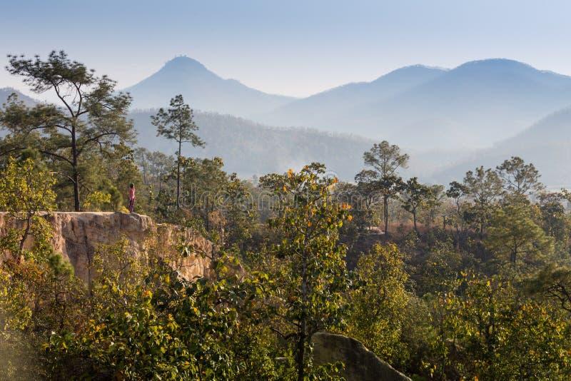 Η όμορφη παραμονή κοριτσιών στην κορυφή του βουνού και βλέπει στον ορίζοντα με το όμορφο υπόβαθρο στοκ φωτογραφίες με δικαίωμα ελεύθερης χρήσης
