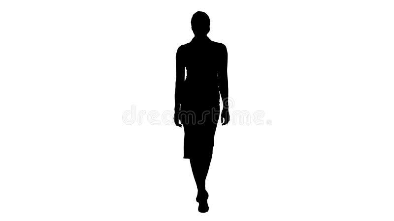 Η όμορφη προκλητική μόδα ύφους επιχειρησιακών γραφείων γυναικών brunette σκιαγραφιών ντύνει το περπάτημα και το χαμόγελο στη κάμε στοκ φωτογραφία