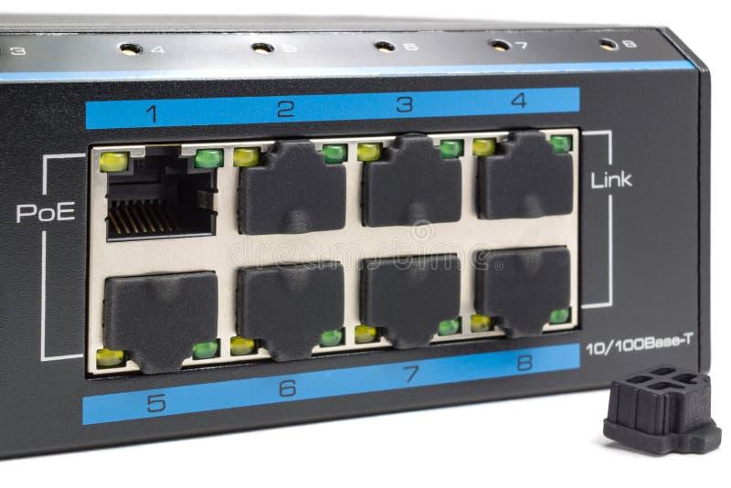 Η δύναμη πάνω σε Ethernet ανάβει ένα άσπρο υπόβαθρο στοκ εικόνα