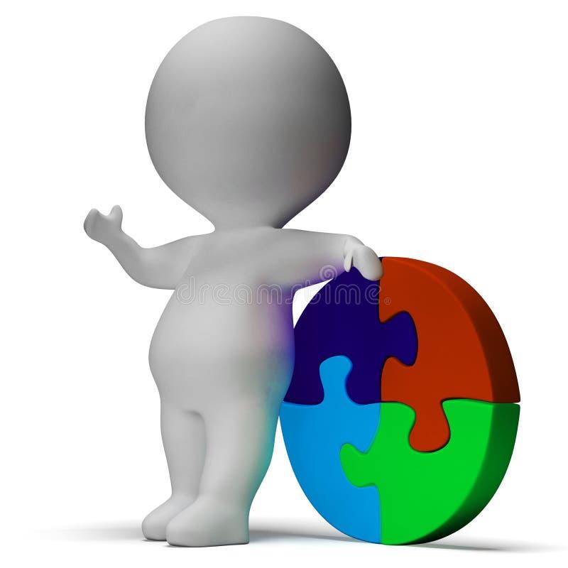 Η λύση τορνευτικών πριονιών και ο τρισδιάστατος χαρακτήρας παρουσιάζουν λύση ή που τελειώνουν απεικόνιση αποθεμάτων