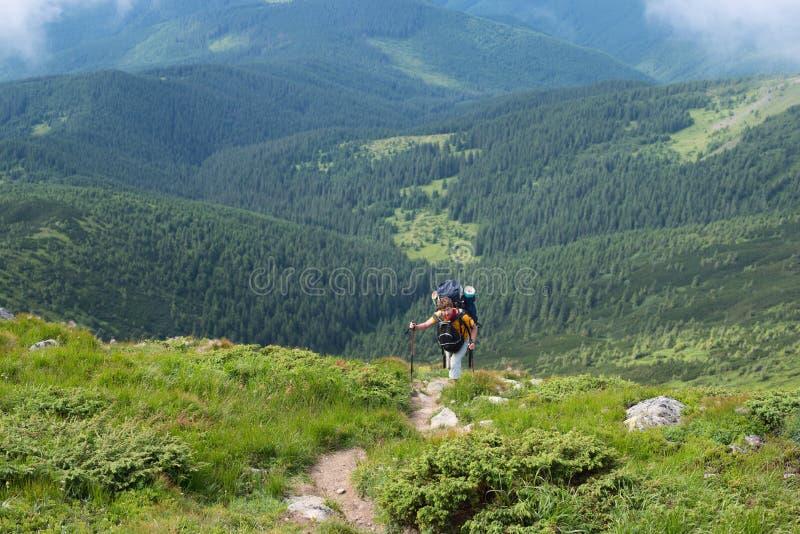 Η δύσκολη οδοιπορία στα Καρπάθια βουνά στοκ φωτογραφία με δικαίωμα ελεύθερης χρήσης