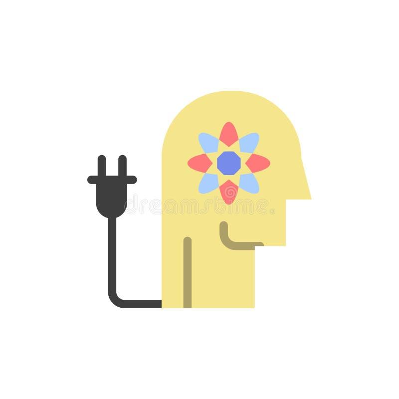 Η ώθηση, δυνατότητα, ώθηση, γνώση, απασχολεί το επίπεδο εικονίδιο χρώματος Διανυσματικό πρότυπο εμβλημάτων εικονιδίων διανυσματική απεικόνιση