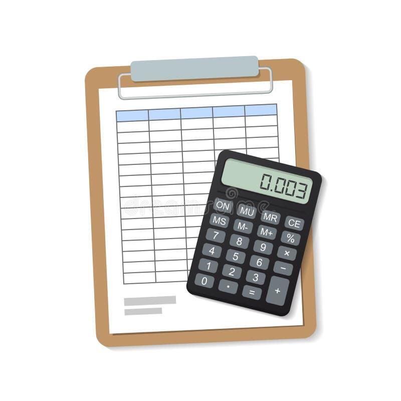 δηλώσεις έγγραφο με έναν πίνακα και ένας υπολογιστής στο φάκελλο Στην άσπρη ανασκόπηση απεικόνιση αποθεμάτων