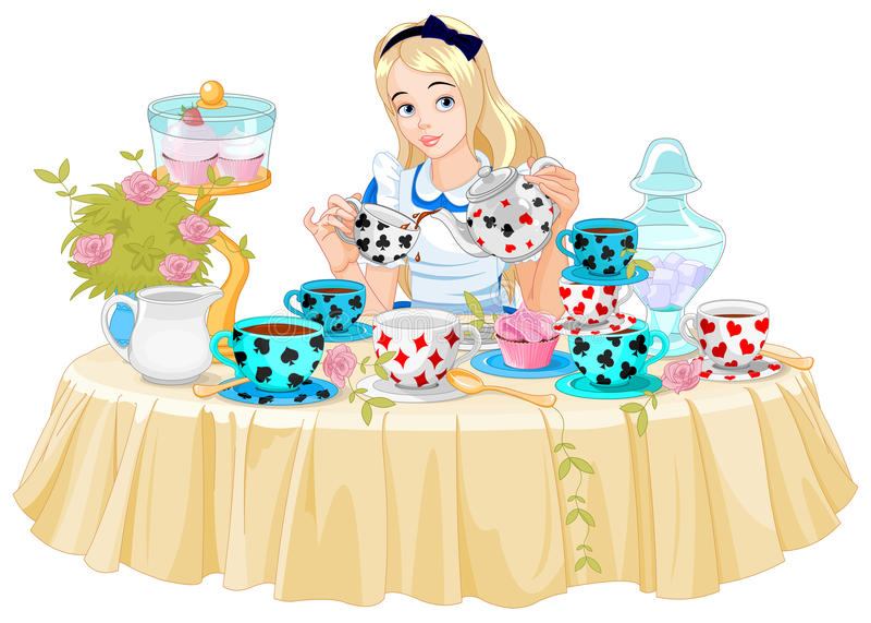 Η Alice παίρνει το φλυτζάνι τσαγιού ελεύθερη απεικόνιση δικαιώματος