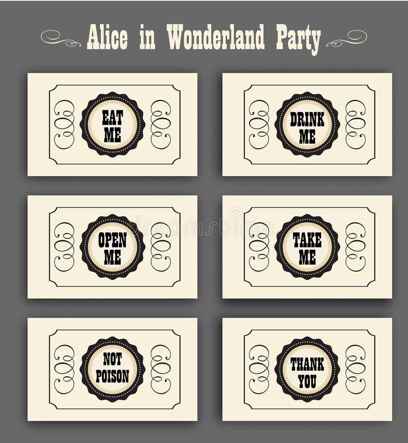 Η Alice στο διάνυσμα χωρών των θαυμάτων που τίθεται με τις ετικέτες με τρώει, με πίνει, με ανοίγει, όχι δηλητήριο, σας ευχαριστεί ελεύθερη απεικόνιση δικαιώματος