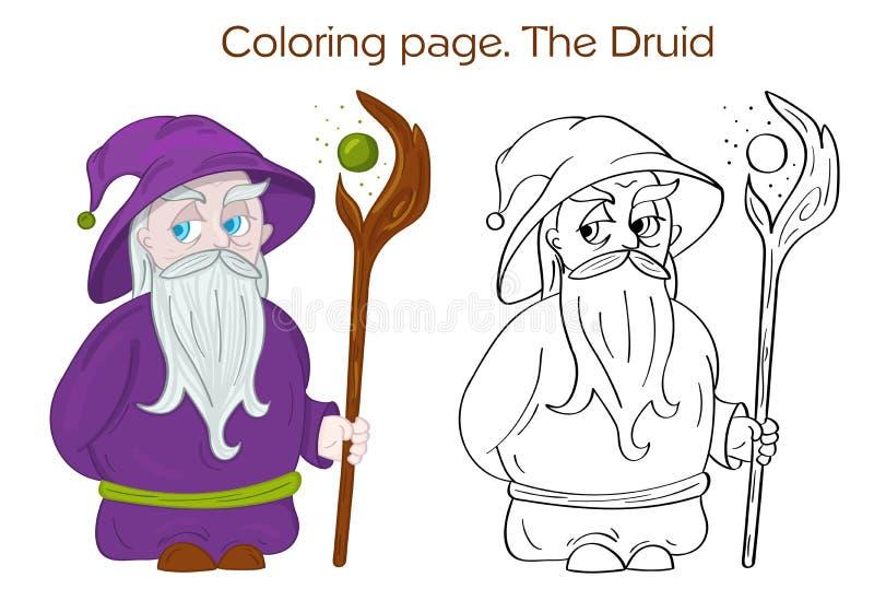 Η Druid χρωματίζοντας σελίδα χαρακτήρα διανυσματική απεικόνιση