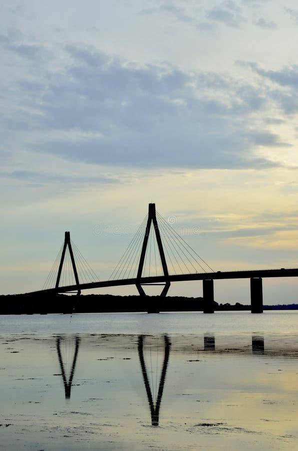 Η Farø γέφυρα, Δανία στοκ εικόνα