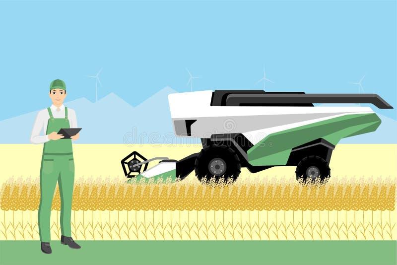 Η Farmer ελέγχει μια αυτόνομη θεριστική μηχανή διανυσματική απεικόνιση