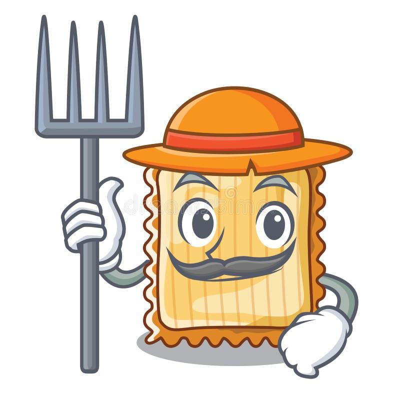 Η Farmer lasagne τίθεται στο τηγάνι χαρακτήρα απεικόνιση αποθεμάτων