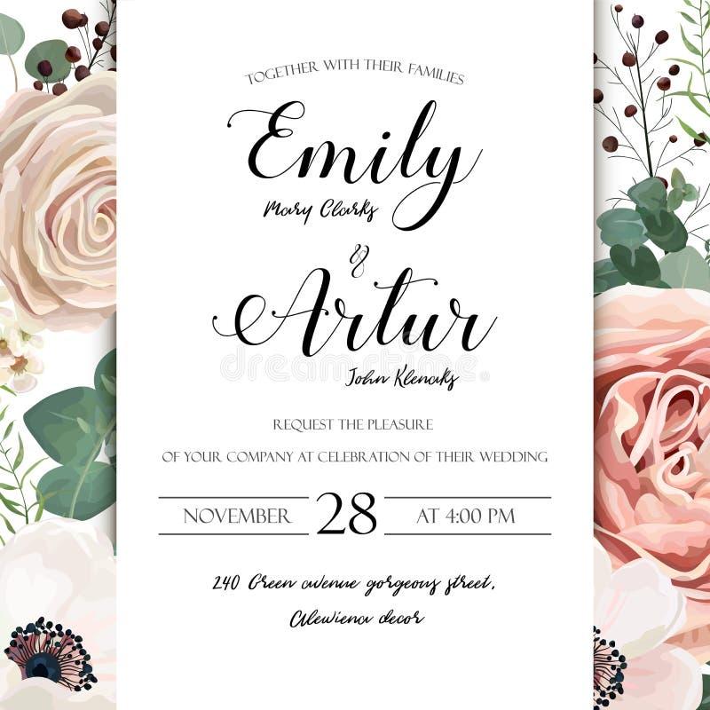 Η Floral γαμήλια πρόσκληση κομψή προσκαλεί το διανυσματικό σχέδιο καρτών: gar απεικόνιση αποθεμάτων