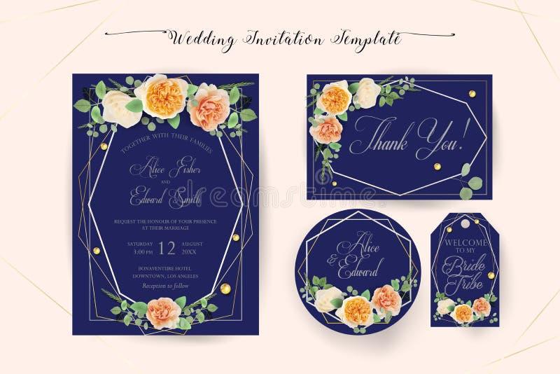 Η Floral γαμήλια πρόσκληση κομψή σας προσκαλεί, ευχαριστεί, rsvp, εκτός από την ημερομηνία, νυφική κάρτα ντους απεικόνιση αποθεμάτων