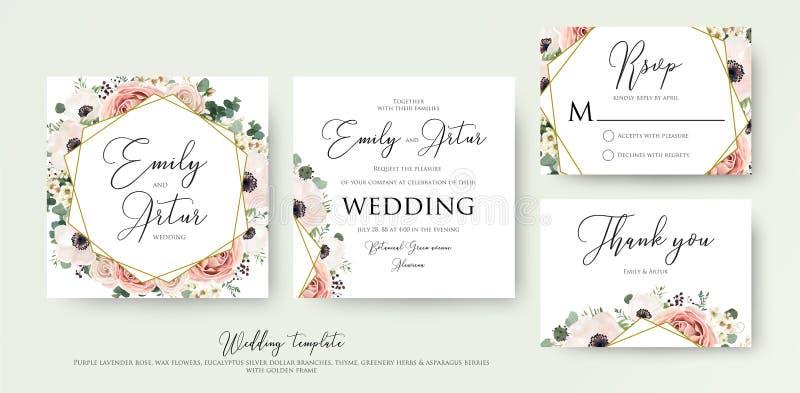 Η Floral γαμήλια πρόσκληση κομψή σας προσκαλεί, ευχαριστεί, rsvp κάρτα β απεικόνιση αποθεμάτων