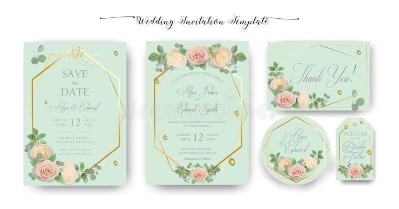Η Floral γαμήλια πρόσκληση, σας ευχαριστεί, rsvp, εκτός από την ημερομηνία, νυφικό ντους, ημέρα γάμου, σύνολο προτύπων καρτών, wa διανυσματική απεικόνιση