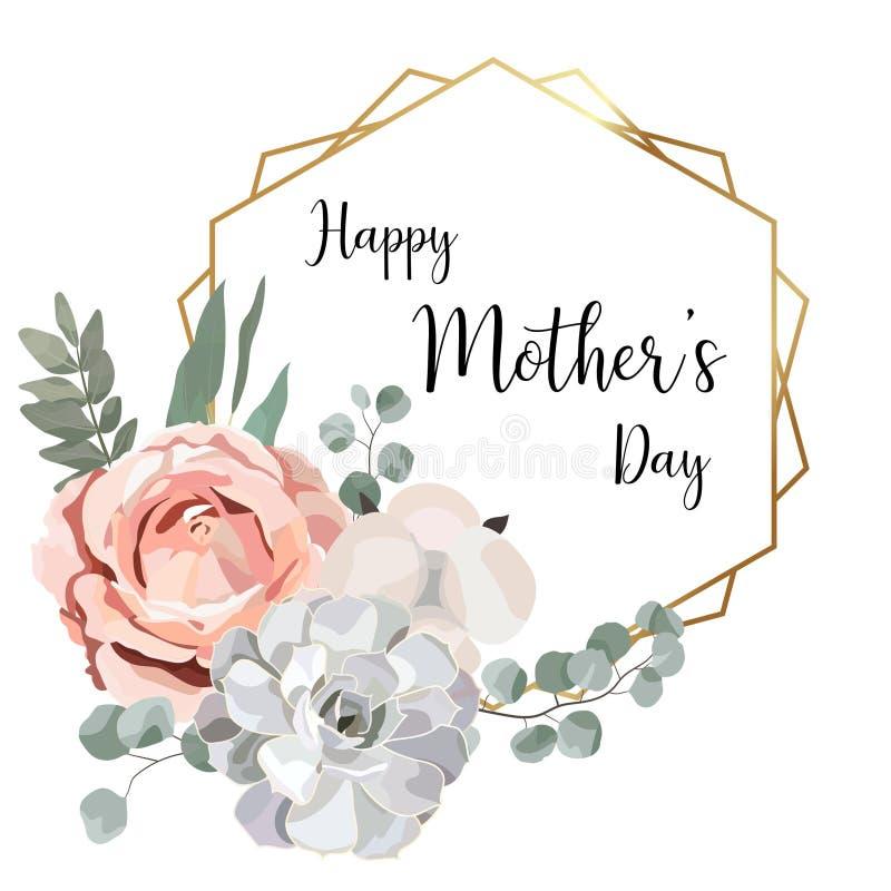 Η Floral κάρτα ημέρας μητέρων ` s με το γεωμετρικό χρυσό πλαίσιο, χορτάρι, αυξήθηκε, βαμβάκι, succulent, φύλλα eucalypyus στο ύφο διανυσματική απεικόνιση