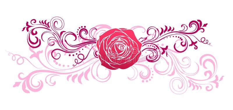 Η Floral διακόσμηση με αυξήθηκε απεικόνιση αποθεμάτων