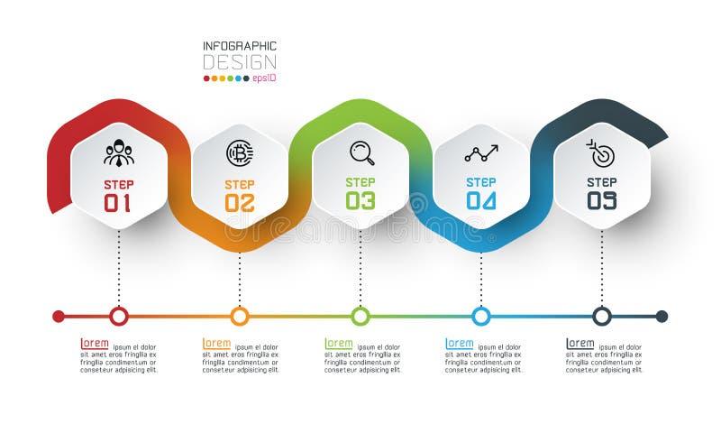 Η Hexagon ετικέτα με τη γραμμή χρώματος σύνδεσε infographic ελεύθερη απεικόνιση δικαιώματος