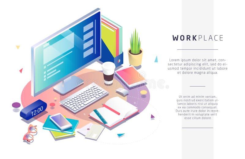 Η Isometric έννοια του εργασιακού χώρου με τον υπολογιστή και το γραφείο διανυσματική απεικόνιση