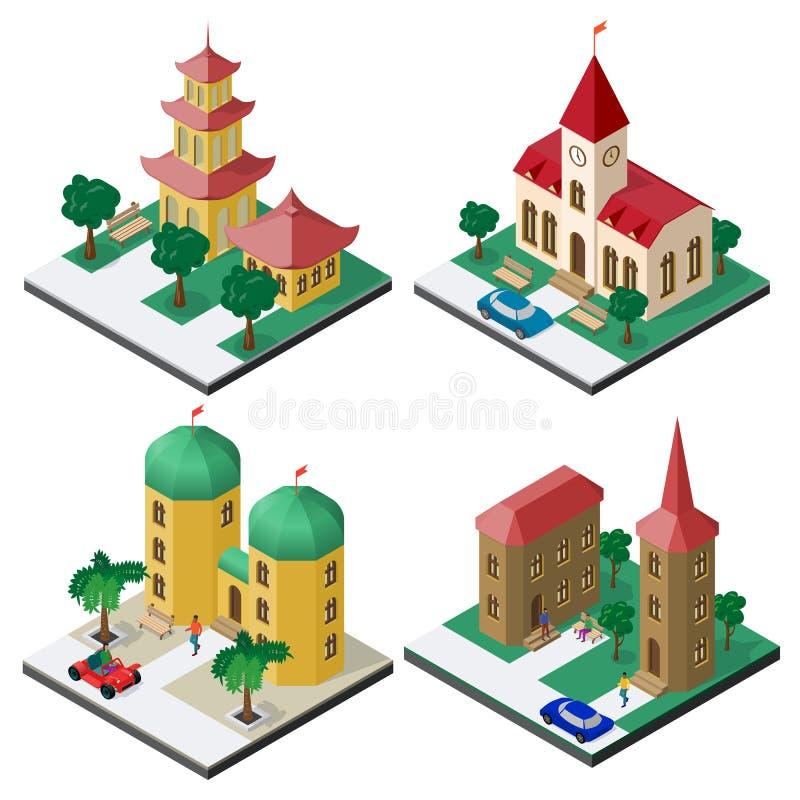 Η Isometric εικόνα έθεσε με τα δημόσια κτίρια, τους πάγκους, τα δέντρα, τα αυτοκίνητα και τους ανθρώπους απεικόνιση αποθεμάτων
