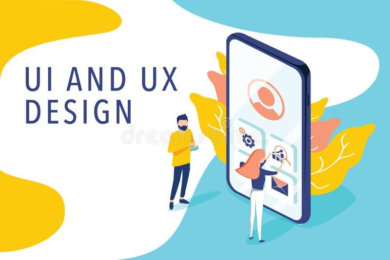 Η Isometric επίπεδη διανυσματική έννοια UI και UX σχεδιάζουν τη διαδικασία, κινητή app ανάπτυξη, σχέδιο GUI Άνθρωποι που εξετάζου ελεύθερη απεικόνιση δικαιώματος