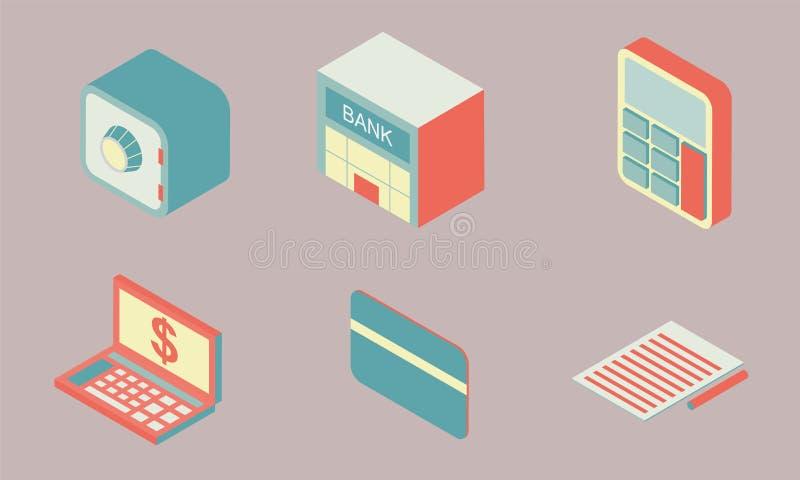 Η Isometric επίπεδη χρηματοδότηση εικονιδίων σχεδίου θέτει 3 ελεύθερη απεικόνιση δικαιώματος