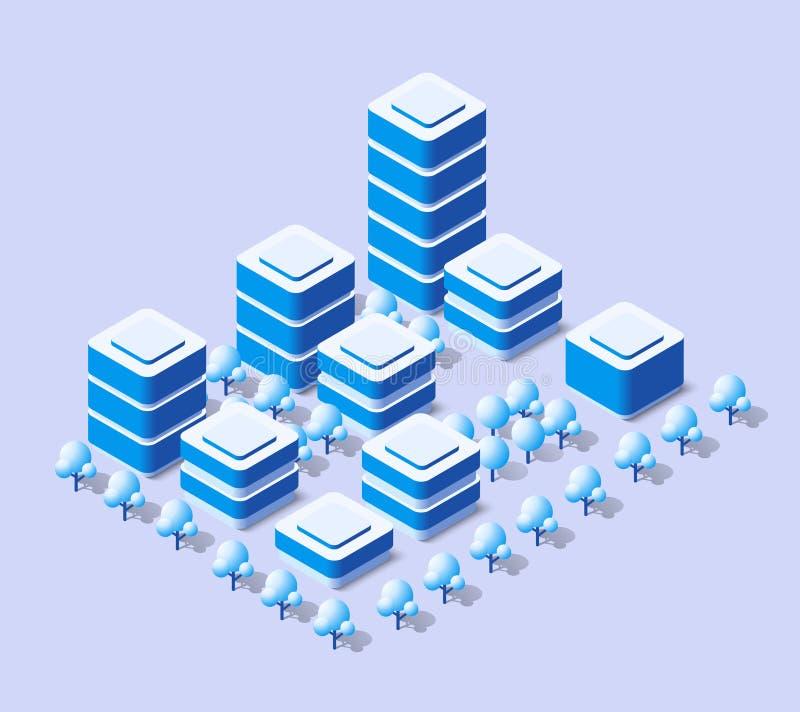 Η isometric πόλη με τον ουρανοξύστη απεικόνιση αποθεμάτων