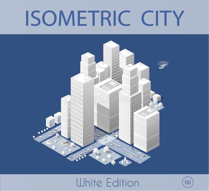 Η isometric πόλη με τον ουρανοξύστη διανυσματική απεικόνιση