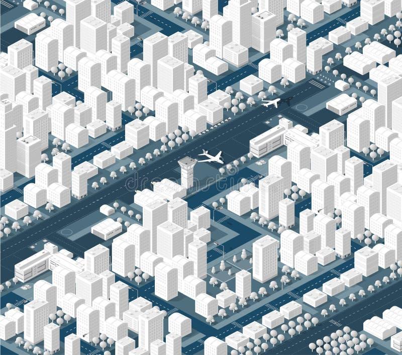 Η isometric πόλη με τον ουρανοξύστη ελεύθερη απεικόνιση δικαιώματος