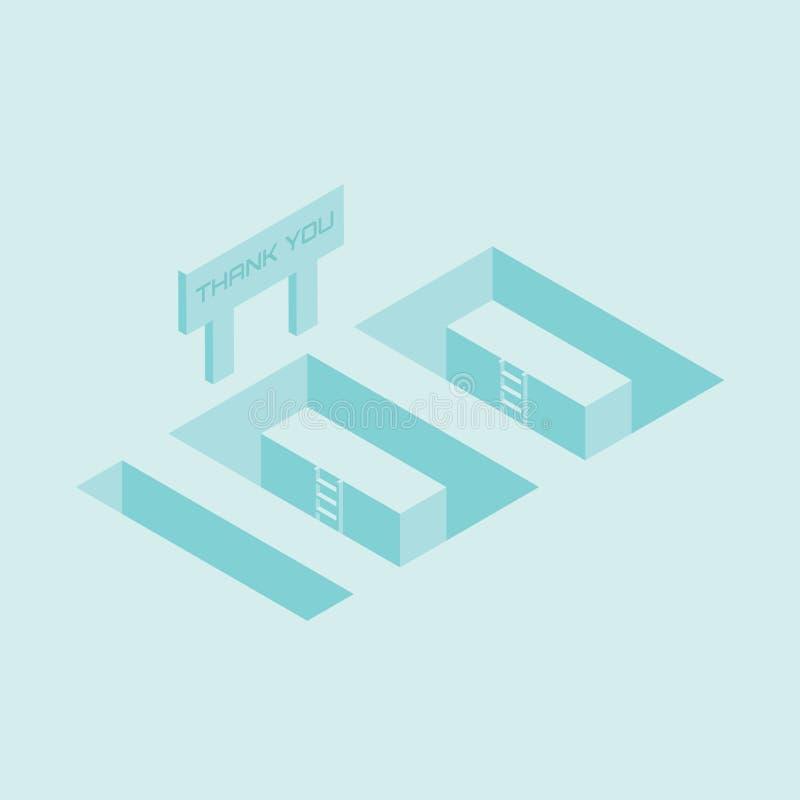 η isometric τέχνη 100 αριθμού με ευχαριστεί εσείς υπογράφει απεικόνιση αποθεμάτων