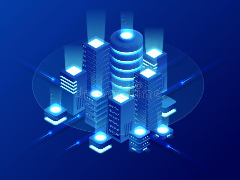 Η Isometric φιλοξενία Ιστού, εφεδρικό αντίγραφο στοιχείων, ανακτεί την έννοια αρχείων, αποθήκευση στοιχείων σύννεφων, ψηφιακή τεχ ελεύθερη απεικόνιση δικαιώματος