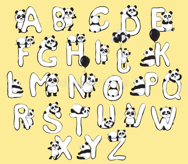 Η Panda αντέχει το χαριτωμένο αγγλικό αλφάβητο ζώων με τις απεικονίσεις μωρών κινούμενων σχεδίων ελεύθερη απεικόνιση δικαιώματος