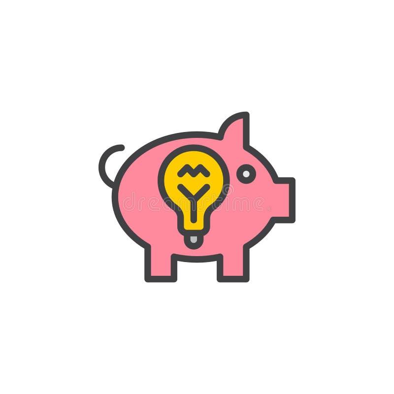 Η piggy τράπεζα ιδέας γέμισε το εικονίδιο περιλήψεων, διανυσματικό σημάδι γραμμών, γραμμικό ζωηρόχρωμο εικονόγραμμα ελεύθερη απεικόνιση δικαιώματος