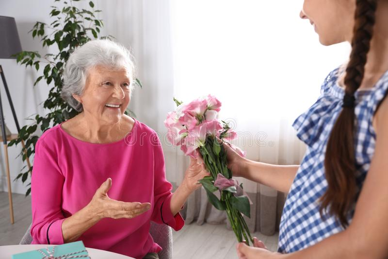 Η Preteen Girl συγχαίρει τη γιαγιά της Χρόνια πολλά για τη γιορτή της μητέρας στοκ φωτογραφίες