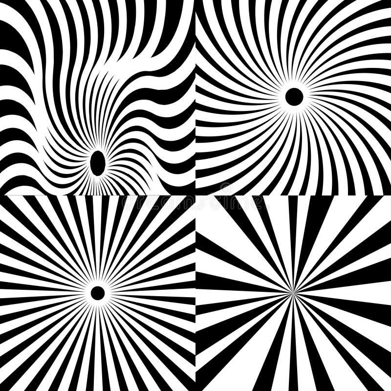 Η Psychedelic σπείρα με τις ακτινωτές ακτίνες, στρόβιλος, έστριψε την κωμική επίδραση, διανυσματικό σύνολο ελεύθερη απεικόνιση δικαιώματος
