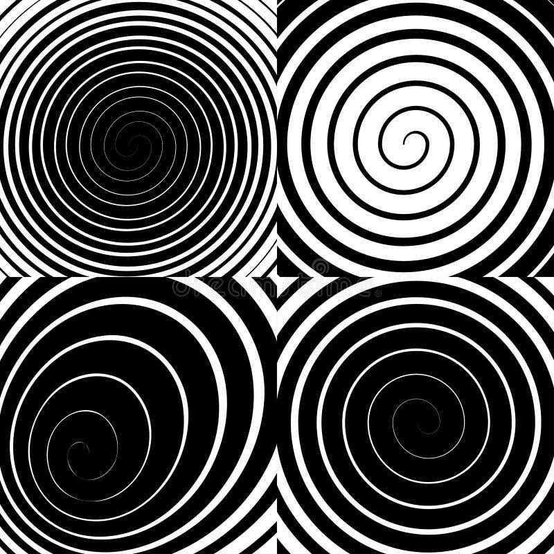 Η Psychedelic σπείρα με τις ακτινωτές ακτίνες, στρόβιλος, έστριψε την κωμική επίδραση, διανυσματικό σύνολο απεικόνιση αποθεμάτων